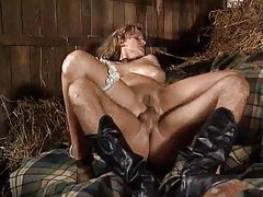Two cocks fuck a slut in the barn tubes