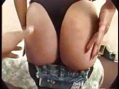 Both guys cum on Latina in sexy scene tubes