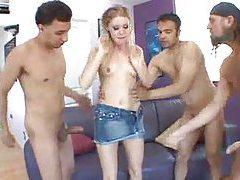 Three guys gangbang a blonde whore tubes