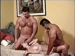 Two alpha males fuck this tempting slut tubes