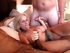 Older lady foursome in hotel bed with squirting tubes