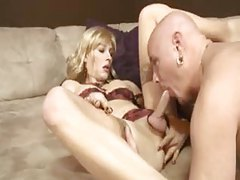 Tgirl Tara Emory suck and fuck in lingerie tubes