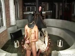 Guy in a hood abused by shemale hottie tubes