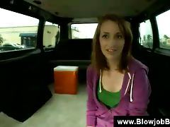 Redhead blowjob in a bus tubes