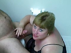 Fat wife sucking his throbbing cock tubes