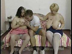 Big girls doing hot threesome with sweaty stud tubes