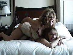 Lesbian scene features girls in lingerie tubes
