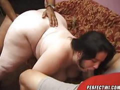 Fat bitch dines on two black dicks tube