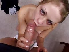 Teenager drops to her knees to suck dick tubes