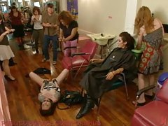 Slave girl in a hair salon is violated tubes