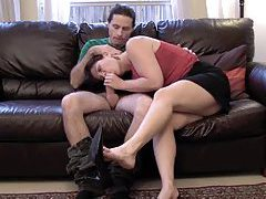Sexy wife stroke and suck on the couch tubes