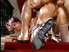 Fabulous French maid bent over and taken tubes