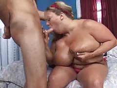 Blonde BBW does a striptease before great sex tubes