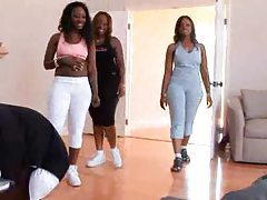 Three black booty sluts come into the gym tubes