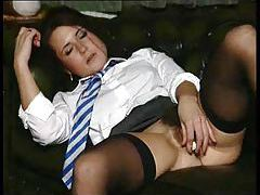 Schoolgirl with hairy pussy strip and toy fuck tubes