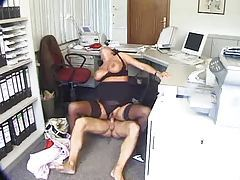 Slut in her home office doing hardcore scene tubes