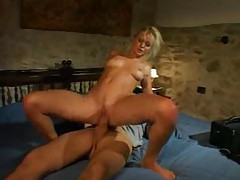Slender perky tit blonde fucked and he cums for her tubes
