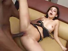 Black cock is really long and it bangs her tube