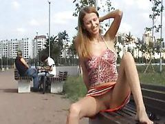 Girl naked in a public park tubes