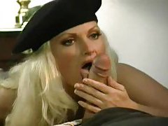 Blonde in a beret sucking and fucking tubes