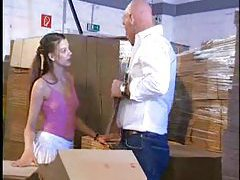 Fucking her teen pussy in the warehouse tubes