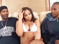 Black chick gets into threesome with guys tubes