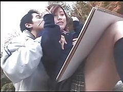 Cute Japanese girl painted and fucked tubes