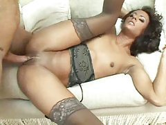 She strips to her lingerie and has anal sex tubes