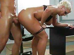 Oiled up blonde slut has ass sex tubes