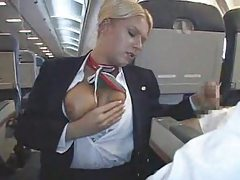 Stewardess makes his cock feel good tubes