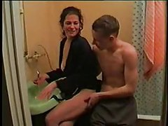 Young man milf fuck in the bathroom tubes