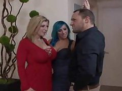 Two fun chicks with big tits treat him well tubes