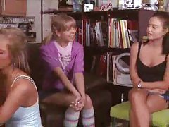 Three young ladies sample a hot cock tubes