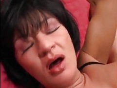 Double the cock for girl in black corset tubes