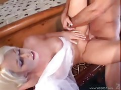 Slutty blonde in sexy white lingerie takes boner tubes