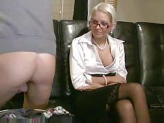 Chick in a satin blouse fucks his ass tubes