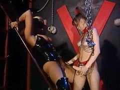 Kinky chicks strapon sex and fisting tubes