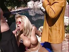 Threesome with a nice blonde and her big tits tubes