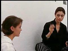 Lusty girl-girl scene with Alyssa Milano tubes