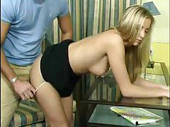 Young blonde bends over for hot sex tubes