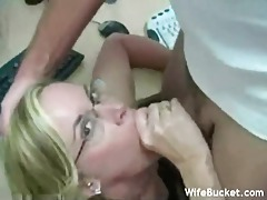 Chick in glasses gets big load in the office tubes