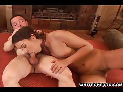Midget fucks a chick in white socks tubes