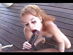 Pierced nipple slut choking on a big black cock tubes