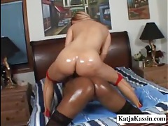 Black and white lesbian use a toy tubes
