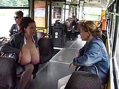 Huge tit chick milking on the bus tubes