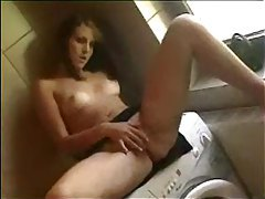 Chick fucked on the washing machine tubes