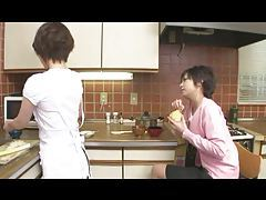 Japanese lesbians fool around in the kitchen tubes