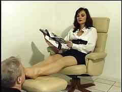 He smells the feet of the femdom tubes