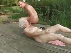 Granny slut fucked on the deck tubes