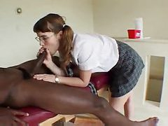 Nerdy schoolgirl goes hardcore with black cock tubes